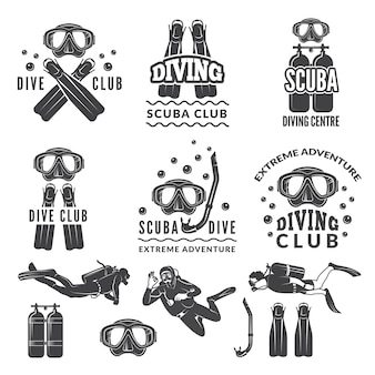 スキューバダイバーとダイバーのシルエット。シースポーツクラブのラベル