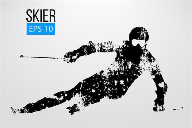 Силуэт лыжника, слалом