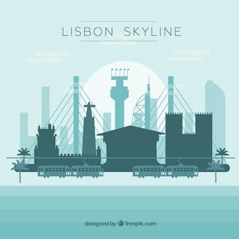 リスボンのスカイラインのシルエット