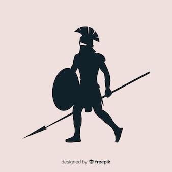 Силуэт спартанского воина с копьем
