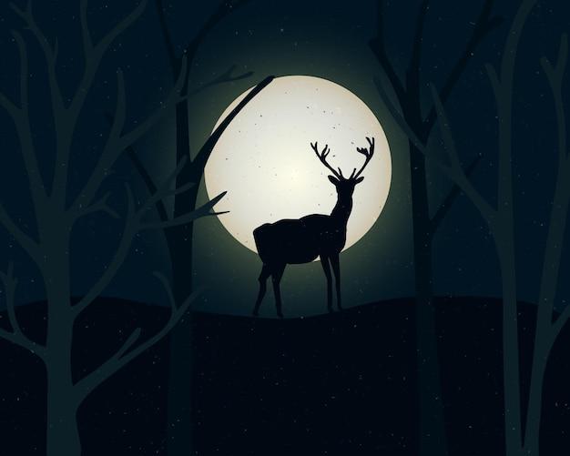 Силуэт стоящего оленя и деревьев. ночной пейзаж с большой полной луной. мистическая иллюстрация.