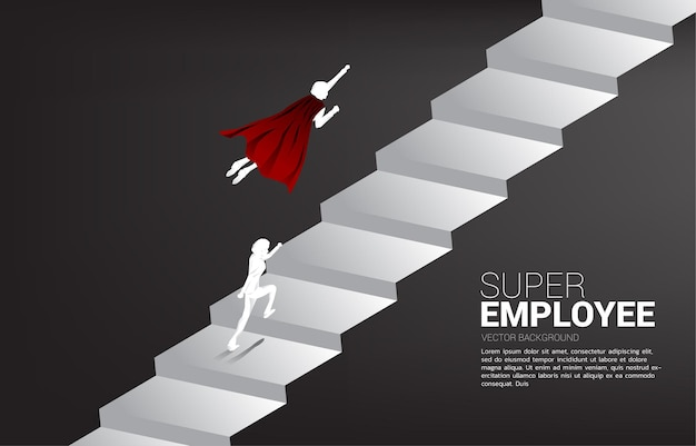 슈퍼 히어로 비행의 실루엣은 계단을 뛰어 올라갑니다. 비즈니스의 부스트와 성장의 개념입니다.