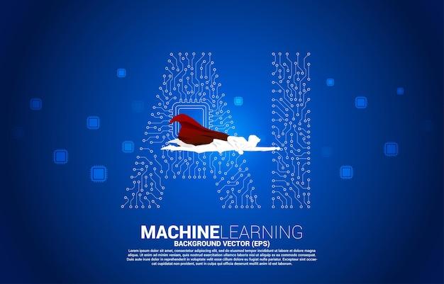 선 모양의 ai와 cpu 센터를 연결하는 점으로 비행하는 슈퍼히어로의 실루엣입니다. 기계 학습 및 인공 지능에 대한 개념입니다.