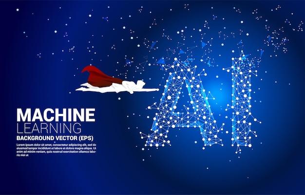 ポリゴンドットで飛んでいるスーパーヒーローのシルエットは、線状のaiを接続します。機械学習と人工知能の概念。