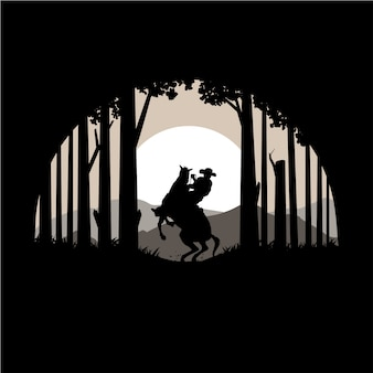 Силуэт техасского леса и лошади векторные иллюстрации