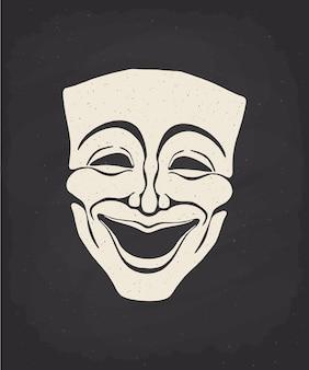 Силуэт маски театральной комедии на доске. векторная иллюстрация. винтажная оперная маска.