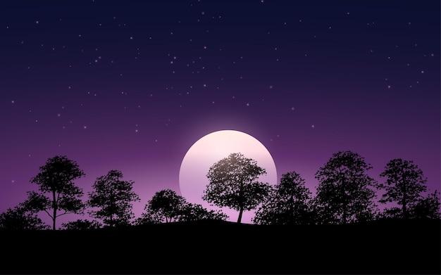 나무와 달빛 배경의 실루엣