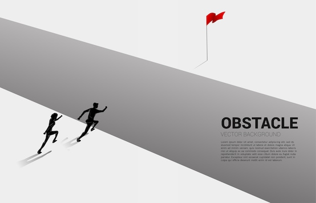 目標に奈落の底を横切って実行している2人のビジネスマンのシルエット。ビジネスの課題と障害の概念