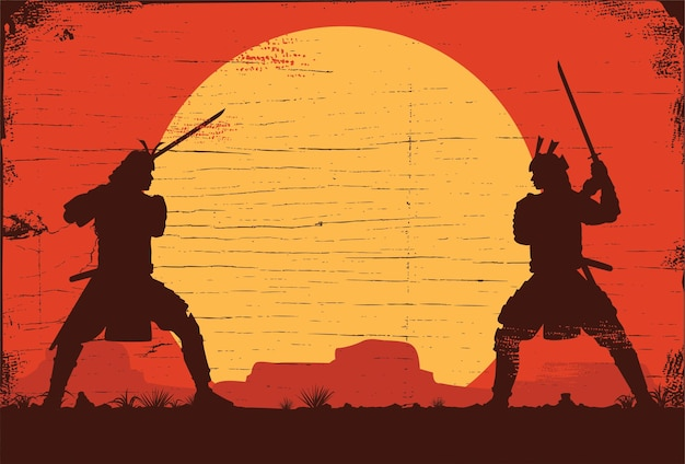 Силуэт двух японских самураев, сражающихся на мечах