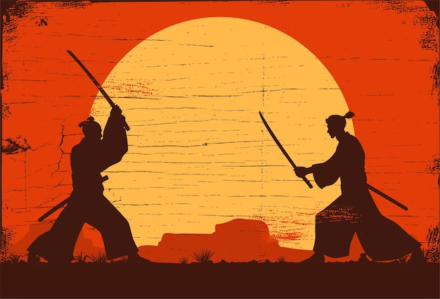Силуэт двух боевых японских самураев на мечах