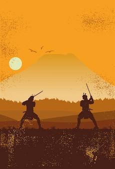 Силуэт двух японских самураев, сражающихся на мечах.