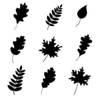 Силуэт различных листьев. векторная иллюстрация