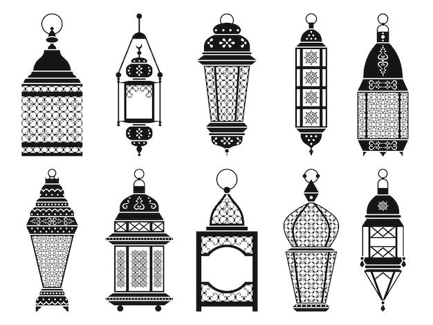 ヴィンテージのアラビアのランタンとランプのシルエットは、白い背景で隔離します。ラマダン用ブラックランタン、モノクロフレームランタンのイラスト