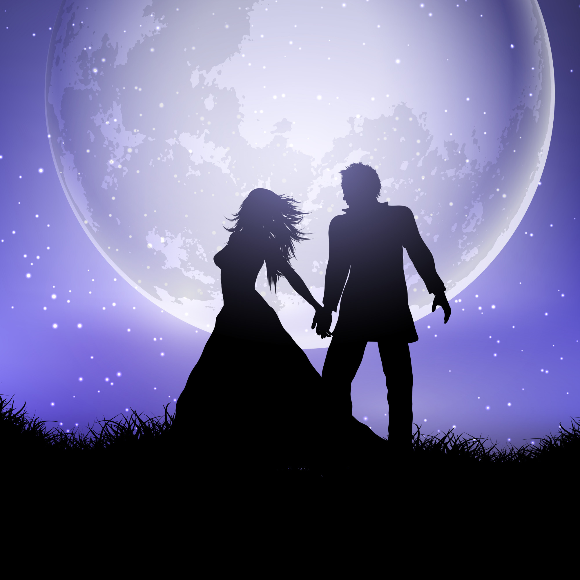 Silhouette of wedding couple against a moonlit sky