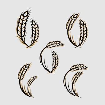 小麦粒のロゴデザインのシルエット