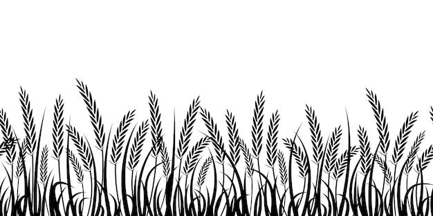 Силуэт пшеницы. силуэт. пшеница в поле на белом фоне.