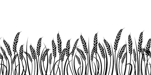 小麦のシルエット。シルエット。白い背景の上のフィールドで小麦。