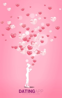 여러 심장 입자와 여자 사용 휴대 전화의 실루엣. 온라인 사랑과 데이트 응용 프로그램에 대한 개념.