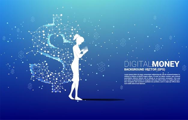 다각형 도트 연결 라인에서 휴대 전화 돈 달러 아이콘을 사용 하여 여자의 실루엣. 온라인 뱅킹 및 디지털 머니의 비즈니스 개념.