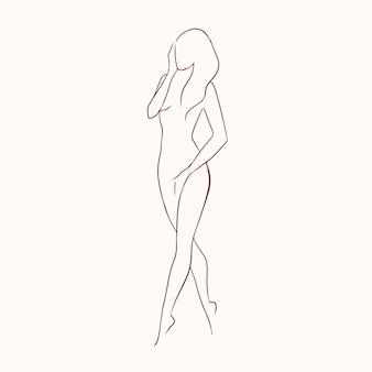 輪郭線で描かれたほっそりした手で優雅な長い髪の裸の若い女性のシルエット。
