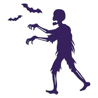 좀비와 박쥐의 실루엣입니다. 프리미엄 벡터