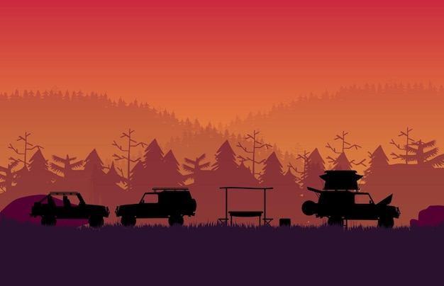 Silhouette off road vehicle camping with forest mountain landscape on orange gradient