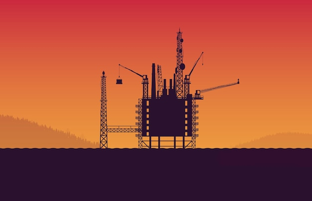Площадка станции платформы нефтяной вышки силуэт в море на оранжевом градиентном фоне