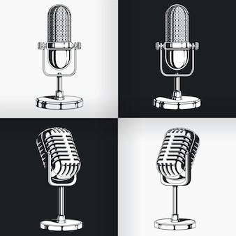 Силуэт старый винтажный радиомикрофон