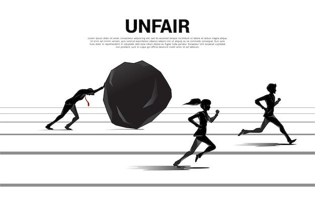Silhouette one of businessman and businesswoman running on inequality challenge. concept of career obstacles and inequality