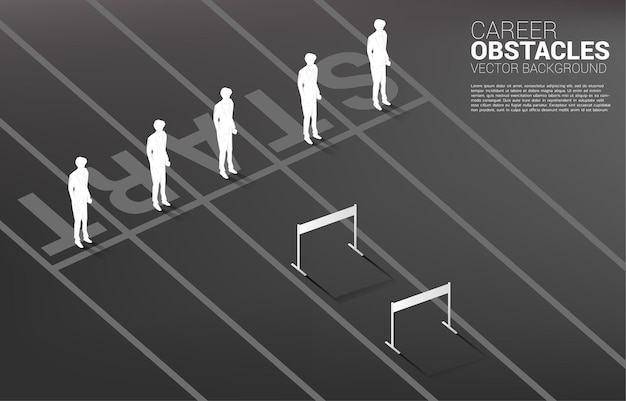 Silhouette one of businessman standing with hurdles obstacle .