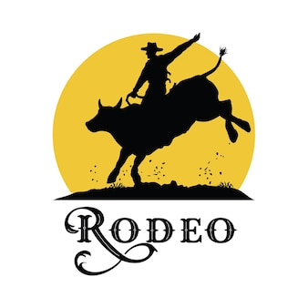 Silhouette os rodeo cowboy riding bull at sunset, vector