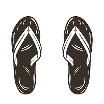 Silhouette of a pair of beach summer surfing slippers