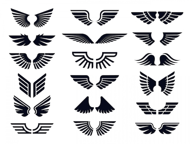 Silhouette pair of wings icon. angel wing, decorative fly emblem and eagle stencil symbols vector icons bundle