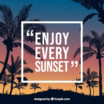 Silhouette palms background with quote