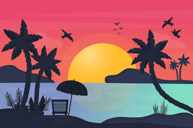 Silhouette of palms and sundown background