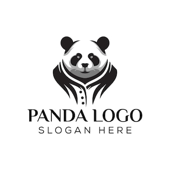 Silhouette panda cool logo, awesome mascot panda logo