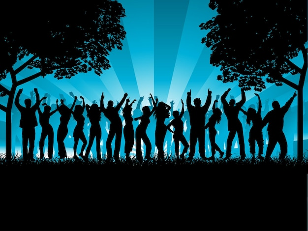 Silhouette of a party crowd dancing outside illustration