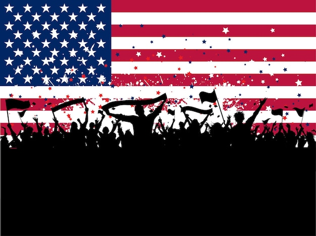 Silhouette of a party crowd with flags on an american flag background