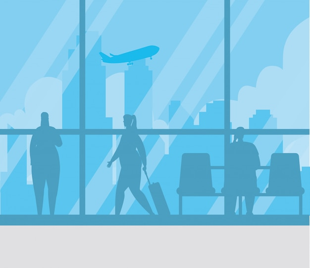 Silhouette of people in the airport terminal vector illustration design