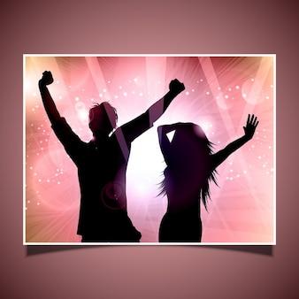 Silhouette di persone che ballano su sfondo astratto
