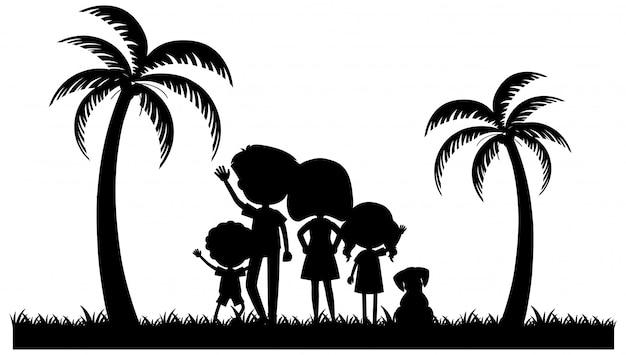 公園で家族のシルエットの人々