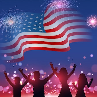 Silhouette of people's character enjoying on wavy american flag