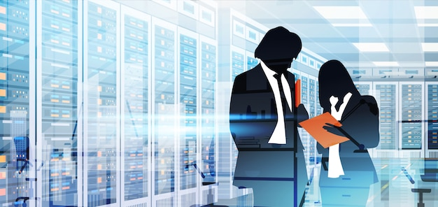 Silhouette people working in data center room hosting server computer information database