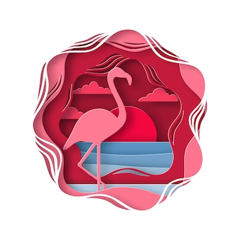 Silhouette of pink flamingo in origami style.