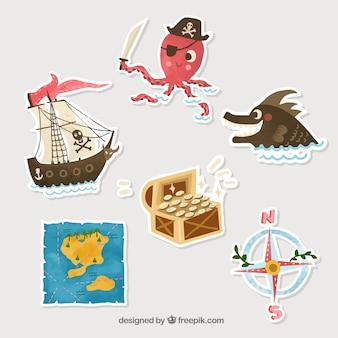 Silhouette pirate stickers