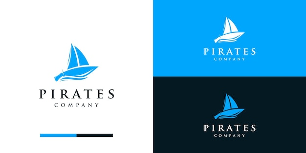 Silhouette of pirates logo with sword and ship logo design