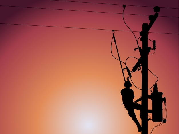 Silhouette of power lineman closing a single phase transformer.