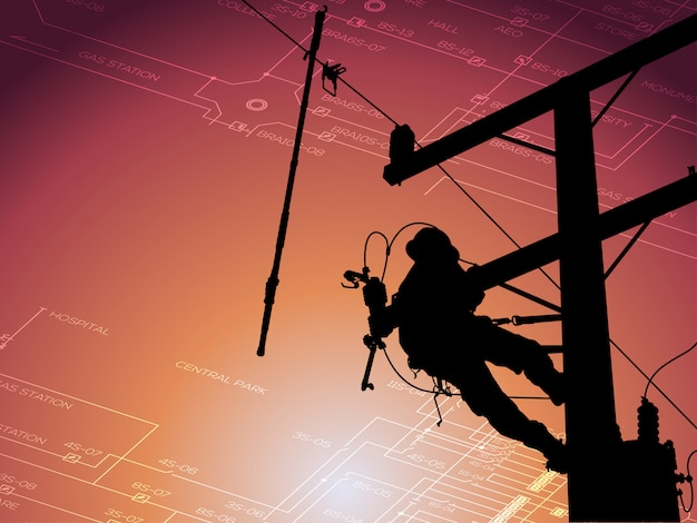 Silhouette power lineman disconnect the cable to replace the defective device that causes power outage and returning power to the power user.