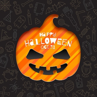 Silhouette of a pumpkin cutout in paper on a background with linear halloween signs and symbols