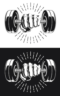 Silhouette punch holding gym fitness dumbbells